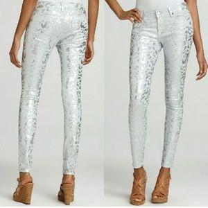 7 FAMK 30 Skinny Silver Foil Print Denim Jean